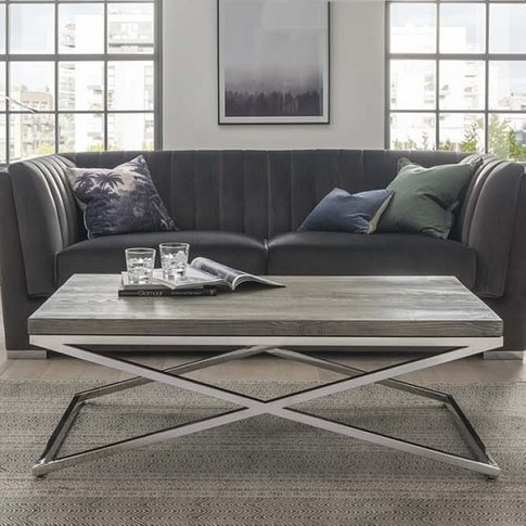 Malta Wooden Coffee Table In Grey With Stainless Ste...