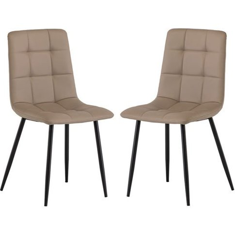 Manhattan Taupe Leather Dining Chair In A Pair