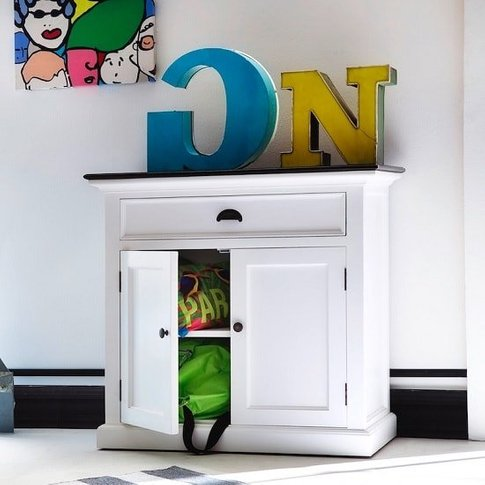 Allthorp Solid Wood Compact Sideboard In White And B...