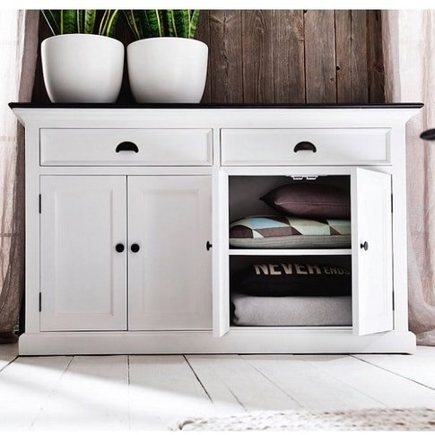 Allthorp Solid Wood Sideboard In White And Black Top...