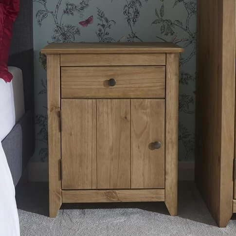 Manila Wooden Bedside Cabinet In Rustic Pine With 1 ...