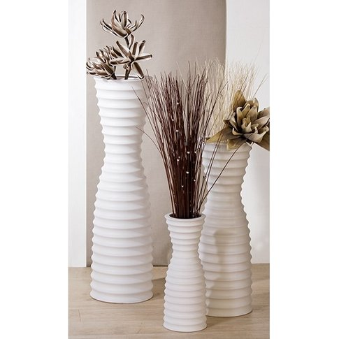 Manito Vase In White Ceramic With Grooves