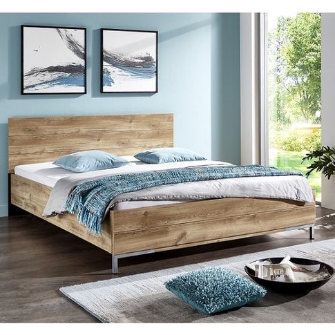 Mantova 180x200cm Wooden Bed In Planked Oak Effect