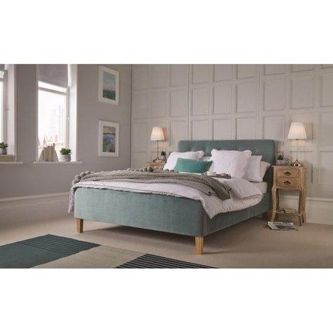 Marciel Fabric Double Bed In Aqua Velvet With Wooden...