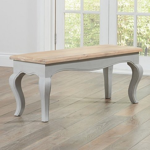 Marco Wooden Dining Bench In In Acacia And Grey