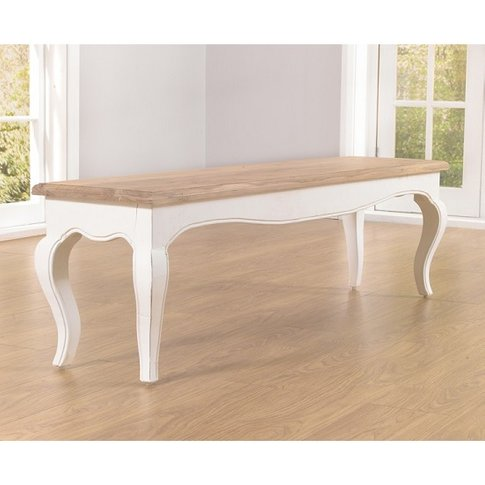 Marco Wooden Dining Bench In In Acacia And Ivory