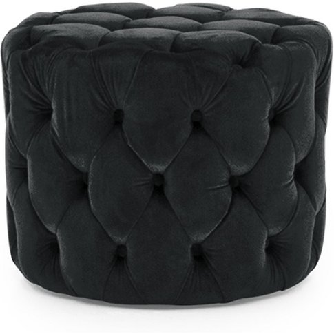 Macrus Fabric Footstool In Blue Velvet Midnight