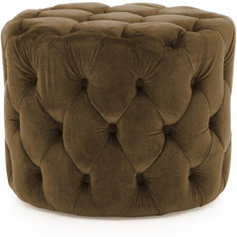 Macrus Fabric Footstool In Brown Velvet Cedar
