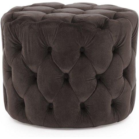 Macrus Fabric Footstool In Navy Velvet Misty