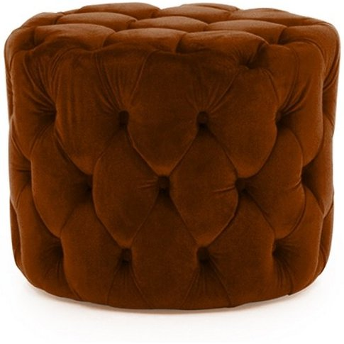 Macrus Fabric Footstool In Orange Velvet Pumpkin