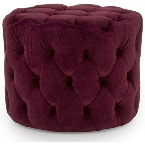 Macrus Fabric Footstool In Red Velvet Crimson