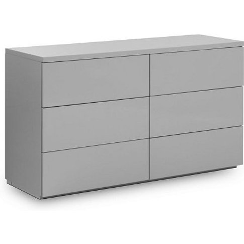 Marcus Chest Of Drawers Wide In Grey High Gloss With...