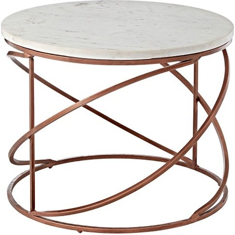 Maren Marble Top Coffee Table Round With Copper Fini...
