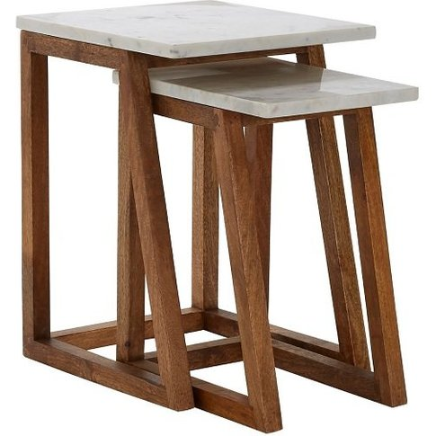 Maren Marble Top 2 Nesting Tables In White With Wood...