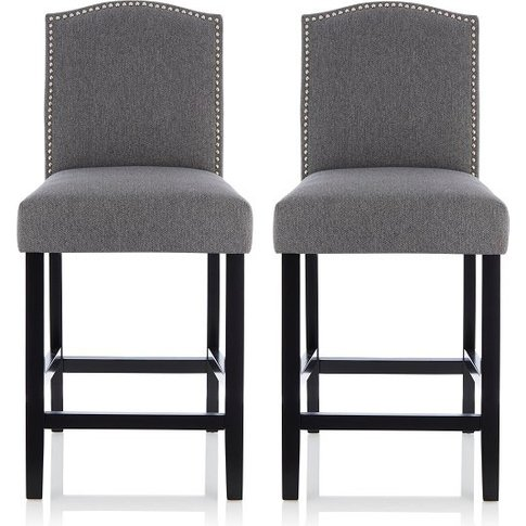 Maria Bar Stools In Grey Fabric With Black Legs In A...