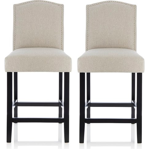 Maria Bar Stools In Mink Fabric With Black Legs In A...