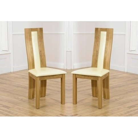 Marila Dining Chair In Cream Pu With Solid Oak Frame...