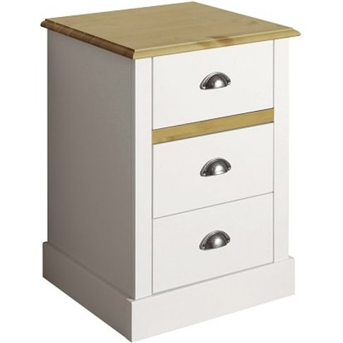 Marina Wooden Bedside Cabinet In White Pine With 3 D...