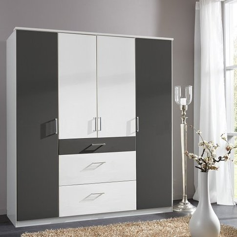 Marino Wooden Wardrobe Large In White And Graphite W...