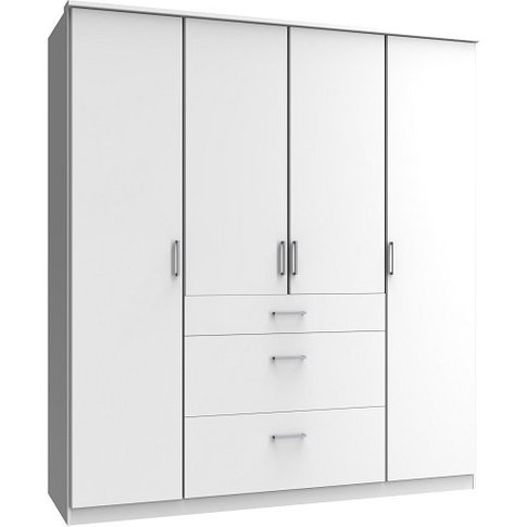 Marino Wooden Wardrobe Large In White With 4 Doors