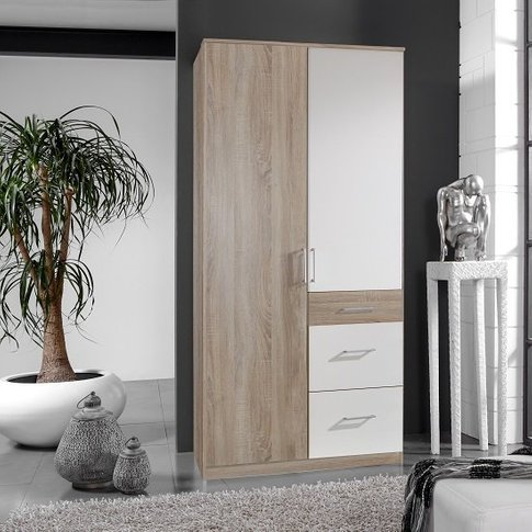 Marino Wooden Wardrobe In Oak Effect And White With ...