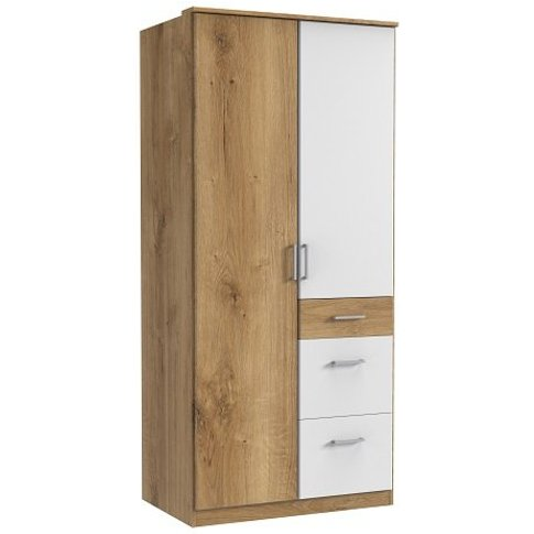 Marino Wooden Wardrobe In Planked Oak Effect And White