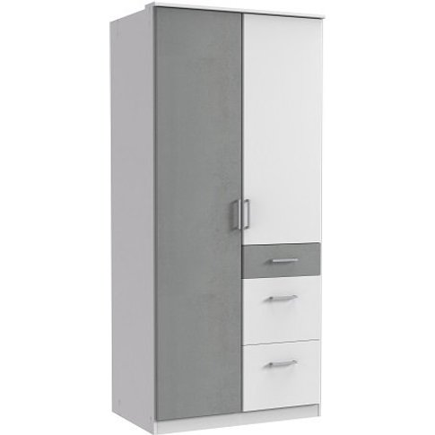 Marino Wooden Wardrobe In White And Light Grey With ...