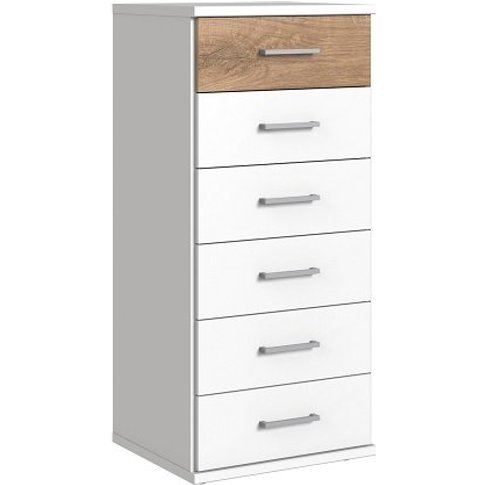 Marino Chest Of Drawers Tall In White And Planked Oa...