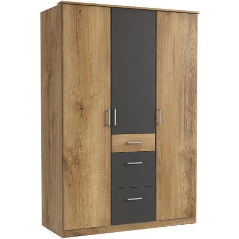 Marino Wardrobe In Planked Oak Effect And Graphite W...