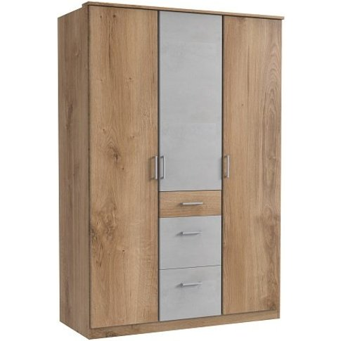 Marino Wardrobe In Planked Oak Effect And Light Grey