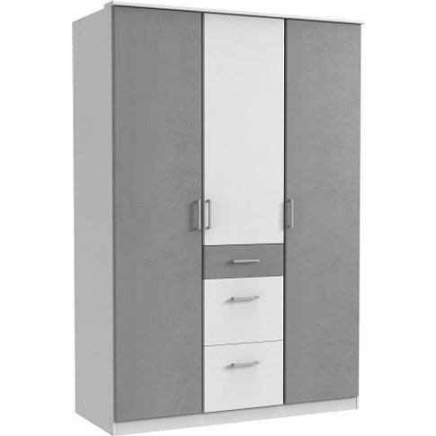 Marino Wardrobe In White And Light Grey With 3 Doors