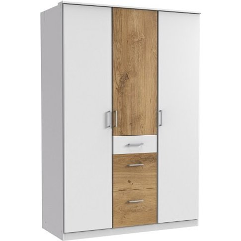 Marino Wardrobe In White And Planked Oak Effect With...