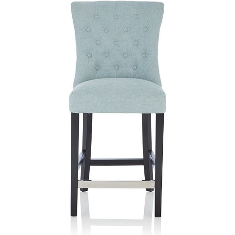 Marlon Bar Stool In Duck Egg Fabric With Black Legs