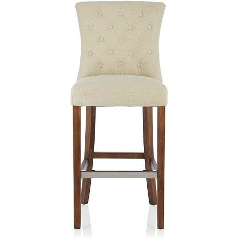 Marlon Bar Stool In Cream Fabric With Walnut Legs