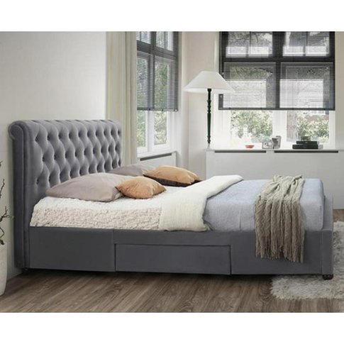 Marlow Fabric Storage Double Bed In Grey Velvet