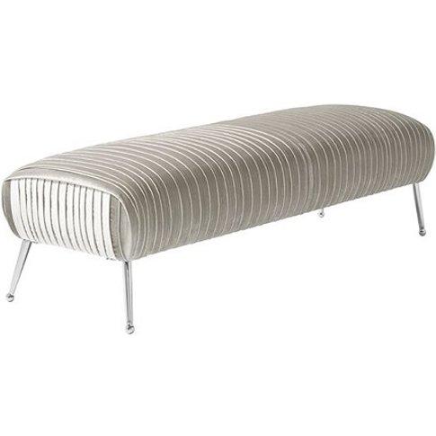 Marlox Modern Bench Grey Velvet With Chrome Legs