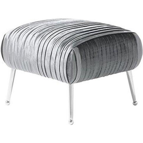 Marlox Modern Stool Charcoal Velvet With Chrome Legs