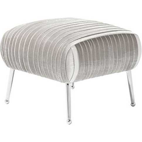 Marlox Modern Stool Grey Velvet With Chrome Legs