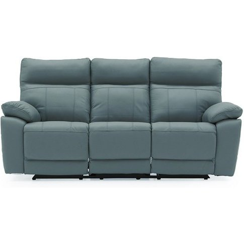 Marquess Recliner 3 Seater Sofa In Blue Faux Leather