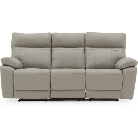 Marquess Recliner 3 Seater Sofa In Light Grey Faux L...