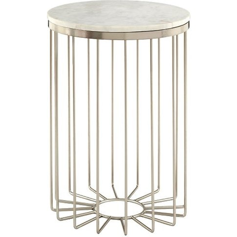 Marquis Marble Top Side Table In White With Metal Frame
