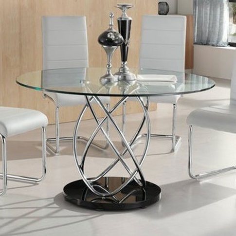 Marseille Glass Dining Table In Clear With Chrome Su...