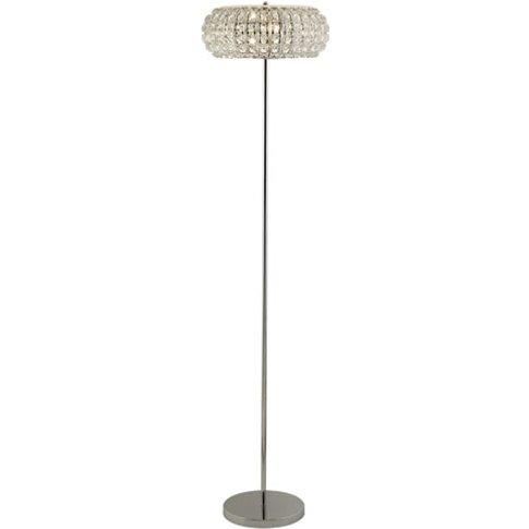 Marylin 3 Bulb Floor Lamp In Chrome With Crystal Glass
