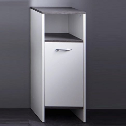 Matis Modern Bathroom Cabinet In White And Smoky Silver