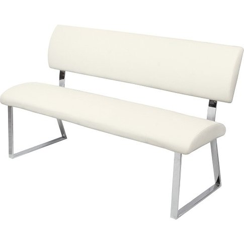 Mattis Dining Bench In Cream Faux Leather With Chrom...