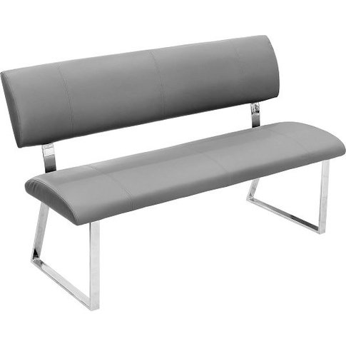 Mattis Dining Bench In Grey Faux Leather With Chrome...