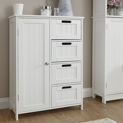Maxima Wooden Bathroom Storage Unit In White With 1 ...