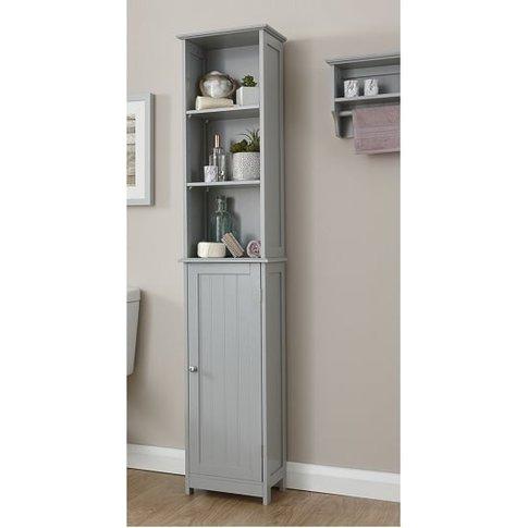 Maxima Wooden Storage Cupboard Tall In Grey With 1 Door