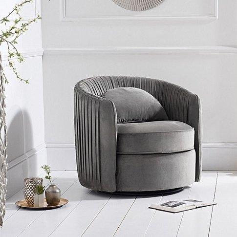 Medan Modern Swivel Sofa Chair In Grey Velvet