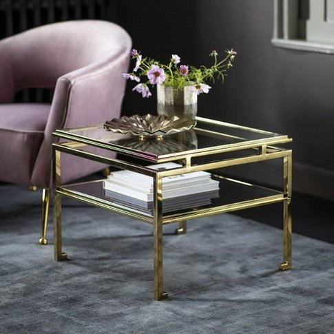 Medulla High Glass Side Table In Gold Finish Metal F...